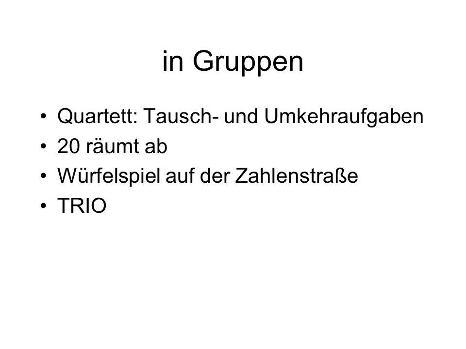 in Gruppen Quartett: Tausch- und Umkehraufgaben 20 räumt ab Würfelspiel auf der Zahlenstraße TRIO