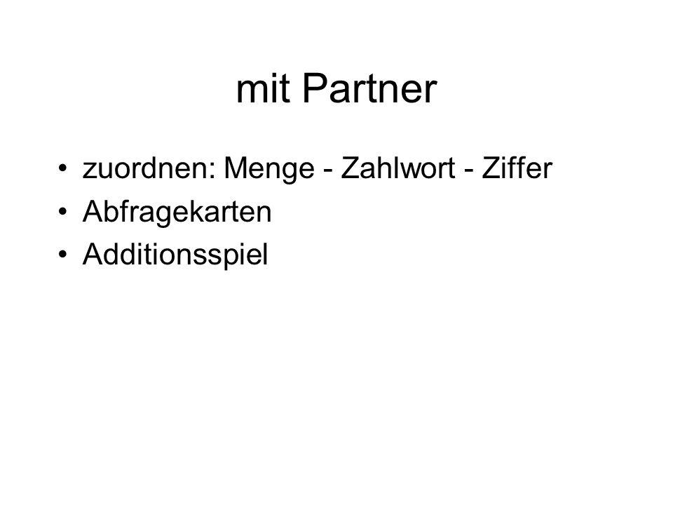 mit Partner zuordnen: Menge - Zahlwort - Ziffer Abfragekarten Additionsspiel