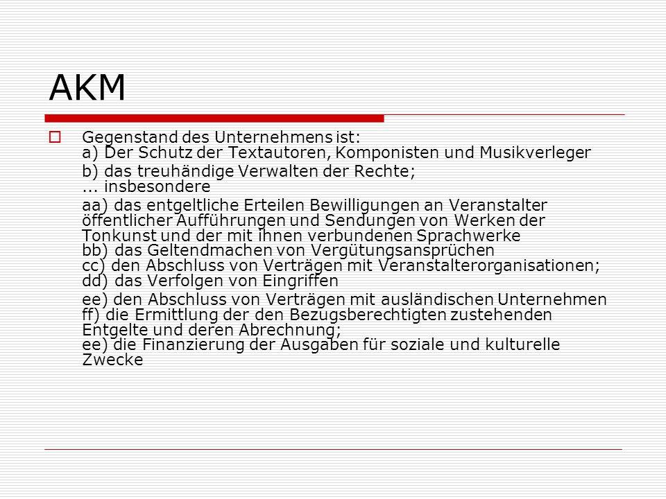 AKM  Gegenstand des Unternehmens ist: a) Der Schutz der Textautoren, Komponisten und Musikverleger b) das treuhändige Verwalten der Rechte;... insbes