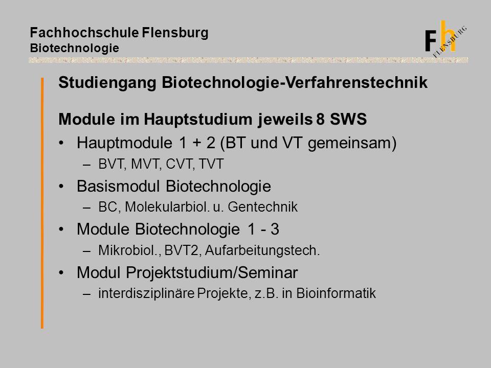 Fachhochschule Flensburg Biotechnologie Module im Hauptstudium jeweils 8 SWS Hauptmodule 1 + 2 (BT und VT gemeinsam) –BVT, MVT, CVT, TVT Basismodul Bi