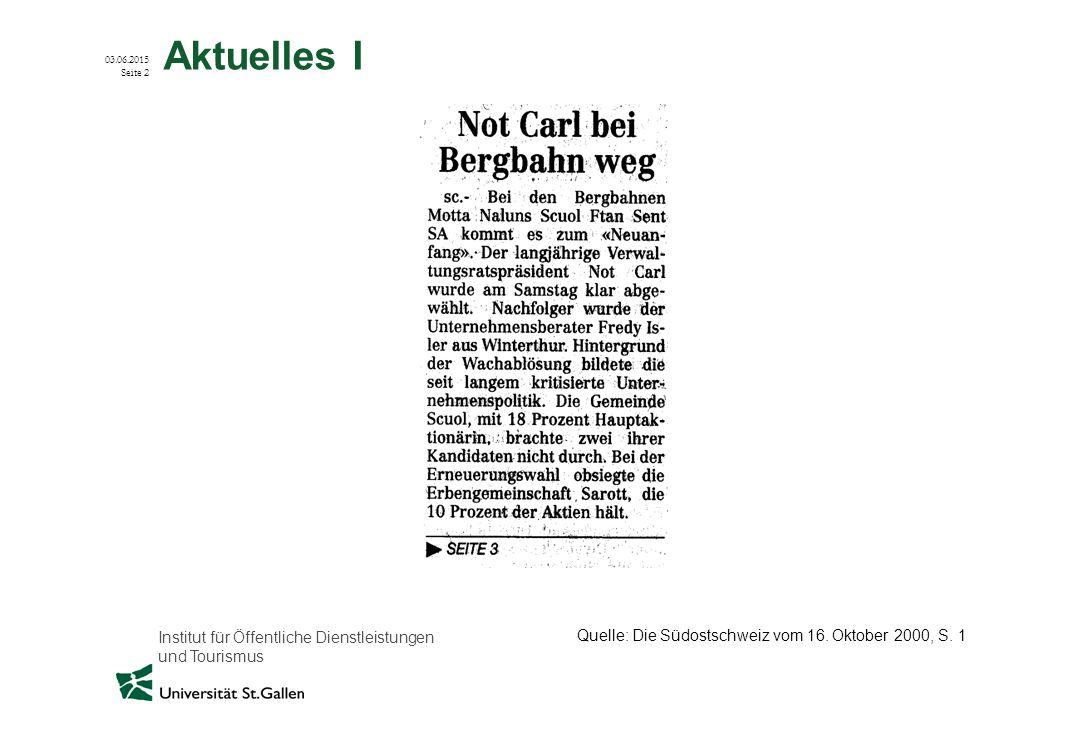 Institut für Öffentliche Dienstleistungen und Tourismus 03.06.2015 Seite 2 Aktuelles I Quelle: Die Südostschweiz vom 16. Oktober 2000, S. 1