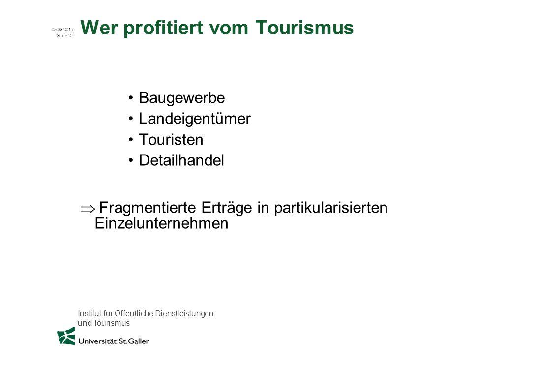 Institut für Öffentliche Dienstleistungen und Tourismus 03.06.2015 Seite 27 Wer profitiert vom Tourismus Baugewerbe Landeigentümer Touristen Detailhan