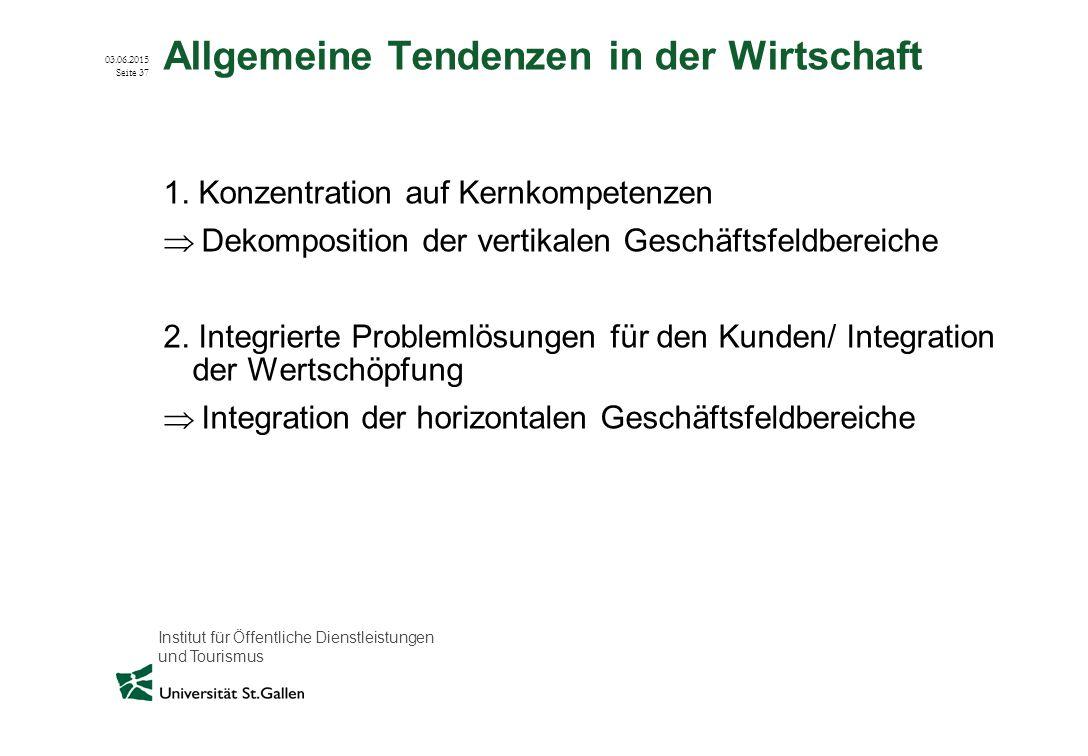 Institut für Öffentliche Dienstleistungen und Tourismus 03.06.2015 Seite 37 Allgemeine Tendenzen in der Wirtschaft 1. Konzentration auf Kernkompetenze