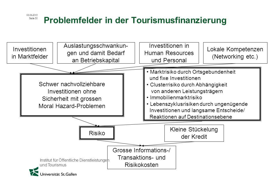 Institut für Öffentliche Dienstleistungen und Tourismus 03.06.2015 Seite 50 Problemfelder in der Tourismusfinanzierung Investitionen in Marktfelder Au
