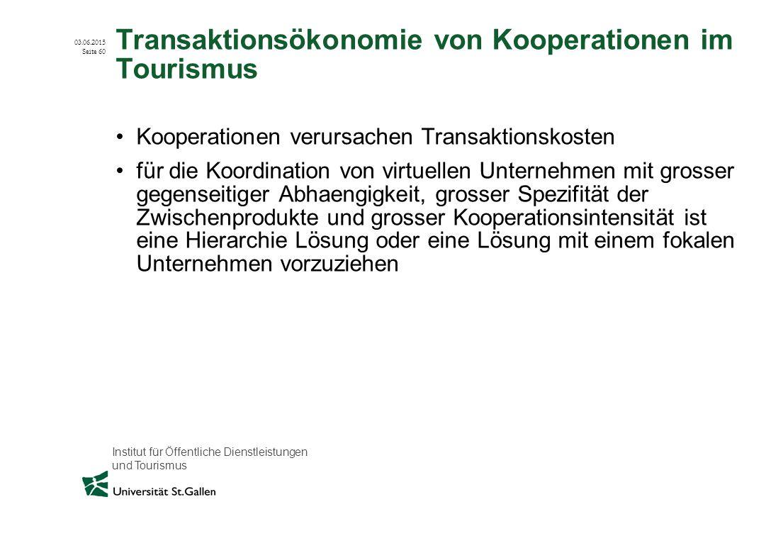 Institut für Öffentliche Dienstleistungen und Tourismus 03.06.2015 Seite 60 Transaktionsökonomie von Kooperationen im Tourismus Kooperationen verursac