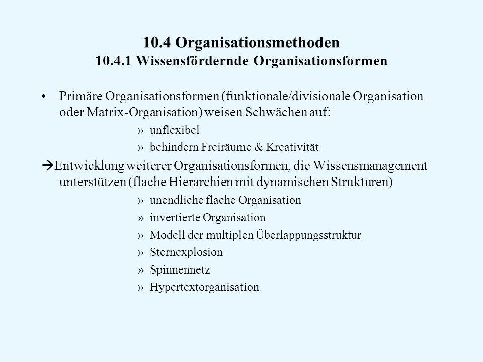 10.4 Organisationsmethoden 10.4.1 Wissensfördernde Organisationsformen Primäre Organisationsformen (funktionale/divisionale Organisation oder Matrix-Organisation) weisen Schwächen auf: »unflexibel »behindern Freiräume & Kreativität  Entwicklung weiterer Organisationsformen, die Wissensmanagement unterstützen (flache Hierarchien mit dynamischen Strukturen) »unendliche flache Organisation »invertierte Organisation »Modell der multiplen Überlappungsstruktur »Sternexplosion »Spinnennetz »Hypertextorganisation