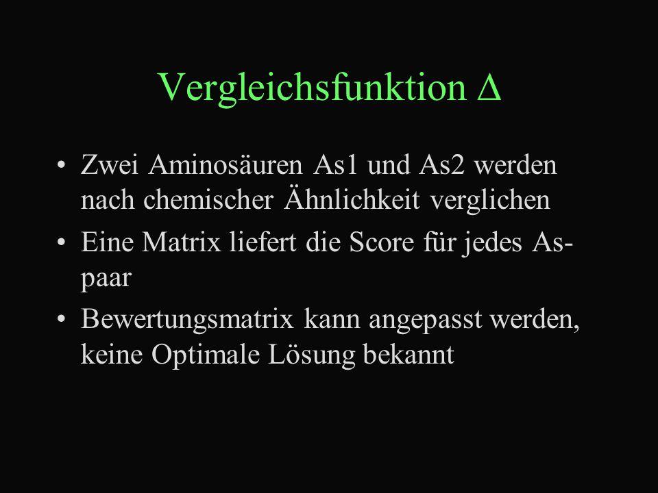 Vergleichsfunktion  Zwei Aminosäuren As1 und As2 werden nach chemischer Ähnlichkeit verglichen Eine Matrix liefert die Score für jedes As- paar Bewertungsmatrix kann angepasst werden, keine Optimale Lösung bekannt