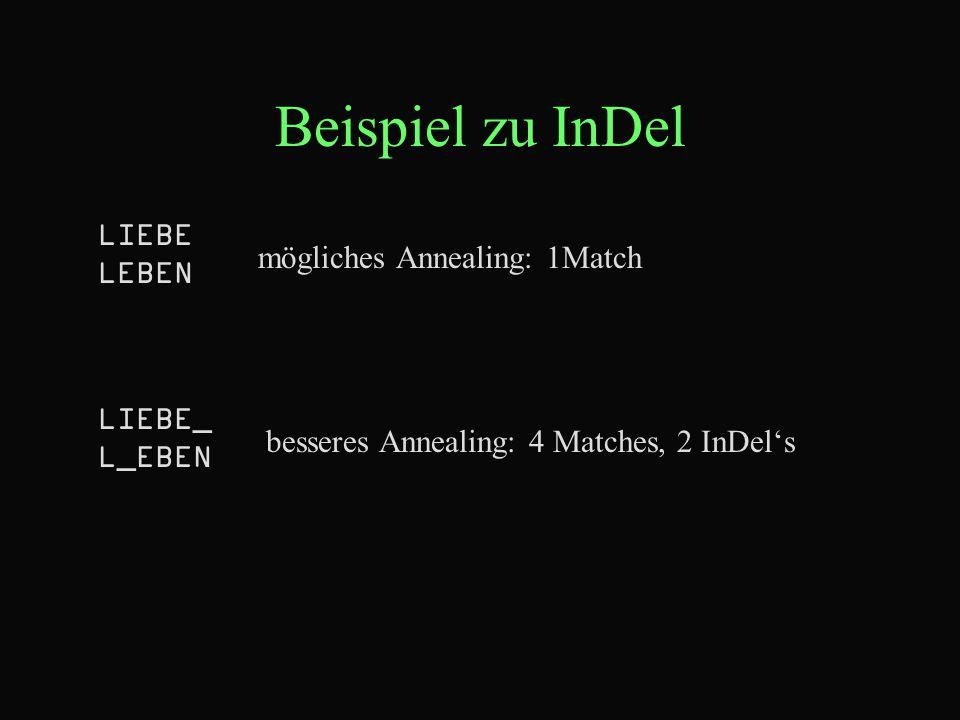 Beispiel zu InDel LIEBE LEBEN mögliches Annealing: 1Match LIEBE_ L_EBEN besseres Annealing: 4 Matches, 2 InDel's