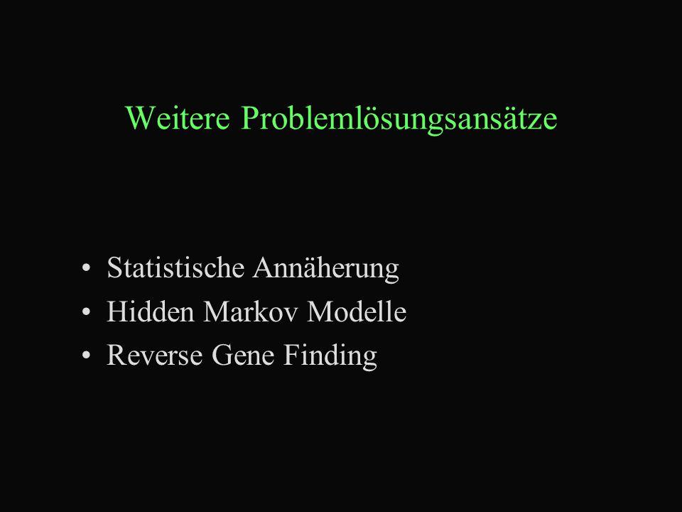 Weitere Problemlösungsansätze Statistische Annäherung Hidden Markov Modelle Reverse Gene Finding