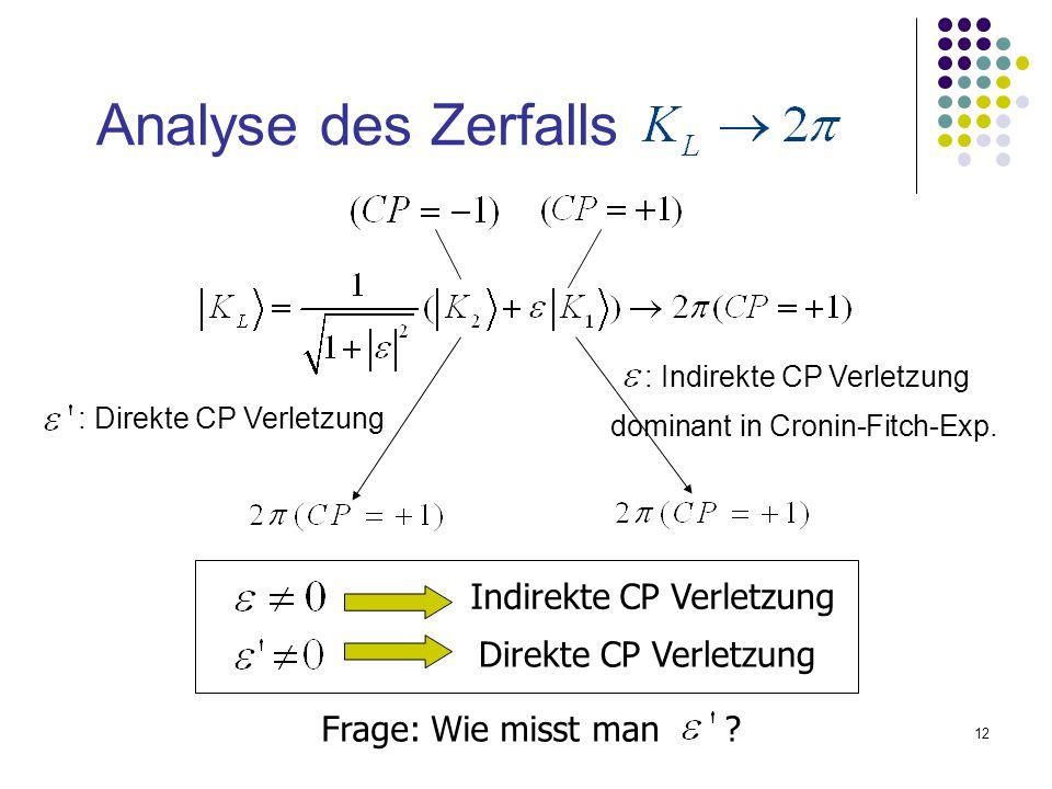 12 Analyse des Zerfalls : Direkte CP Verletzung Frage: Wie misst man ? Indirekte CP Verletzung Direkte CP Verletzung : Indirekte CP Verletzung dominan