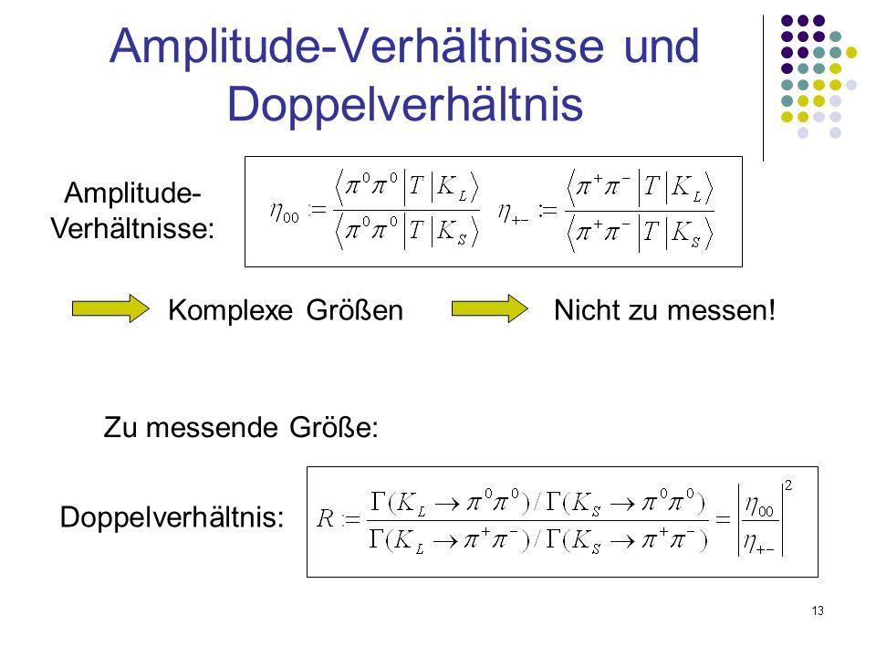 13 Amplitude-Verhältnisse und Doppelverhältnis Amplitude- Verhältnisse: Komplexe GrößenNicht zu messen! Zu messende Größe: Doppelverhältnis: