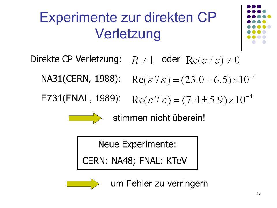 15 Experimente zur direkten CP Verletzung NA31(CERN, 1988): Neue Experimente: CERN: NA48; FNAL: KTeV Direkte CP Verletzung: oder E731(FNAL, 1989): sti