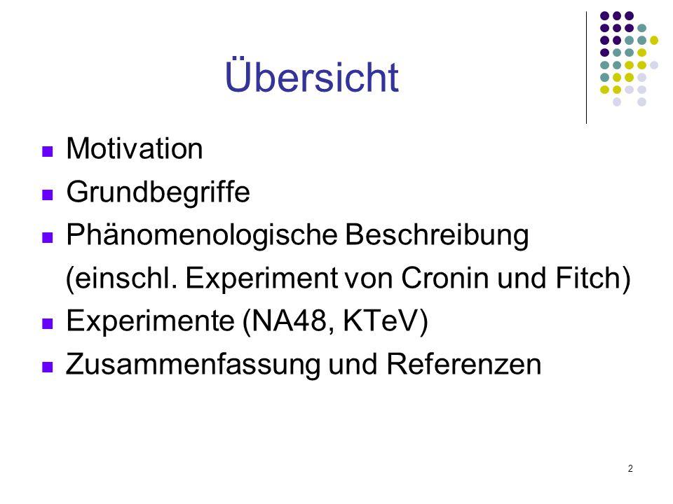 2 Übersicht Motivation Grundbegriffe Phänomenologische Beschreibung (einschl. Experiment von Cronin und Fitch) Experimente (NA48, KTeV) Zusammenfassun