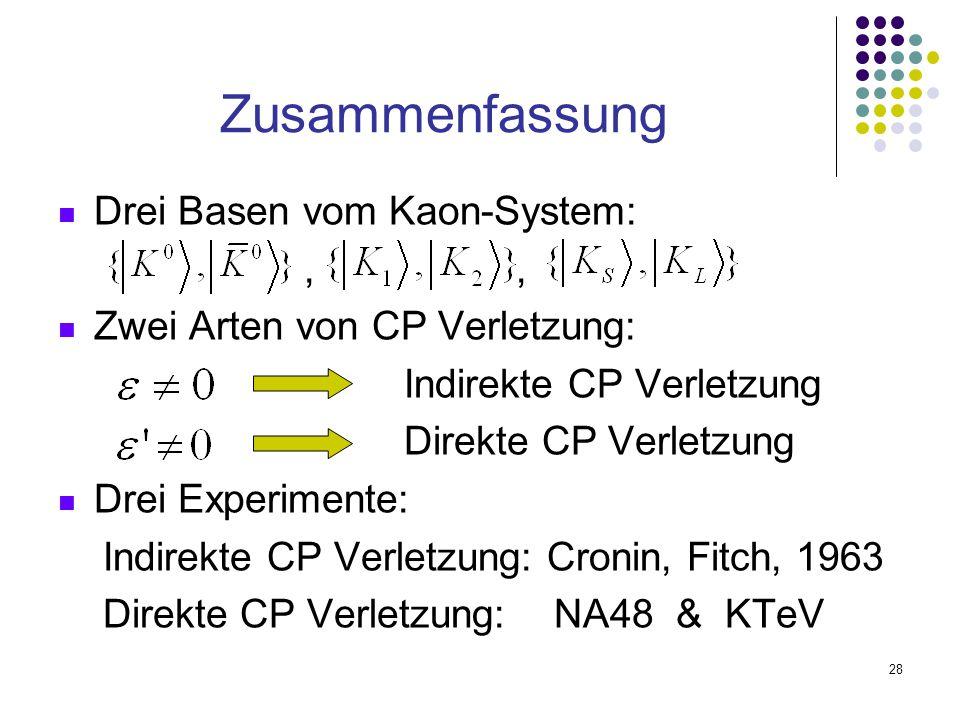 28 Drei Basen vom Kaon-System:,, Zwei Arten von CP Verletzung: Indirekte CP Verletzung Direkte CP Verletzung Drei Experimente: Indirekte CP Verletzung
