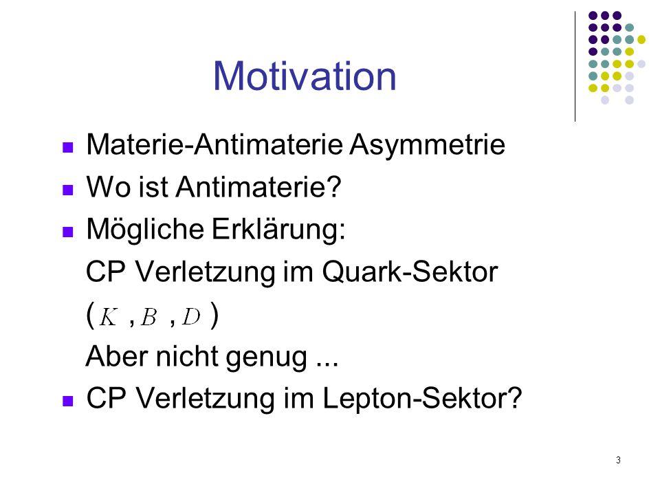 3 Materie-Antimaterie Asymmetrie Wo ist Antimaterie? Mögliche Erklärung: CP Verletzung im Quark-Sektor (,, ) Aber nicht genug... CP Verletzung im Lept