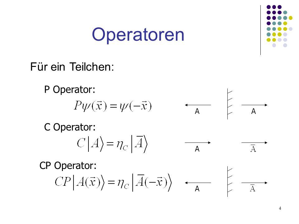 4 Operatoren P Operator: AA C Operator: A A CP Operator: Für ein Teilchen: