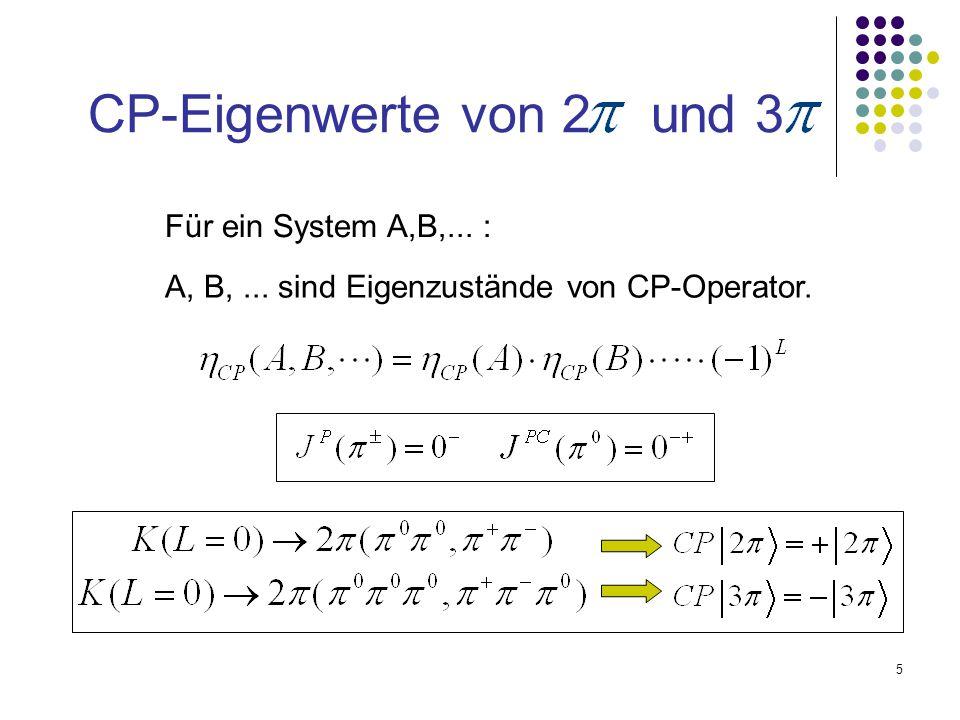 5 CP-Eigenwerte von 2 und 3 Für ein System A,B,... : A, B,... sind Eigenzustände von CP-Operator.