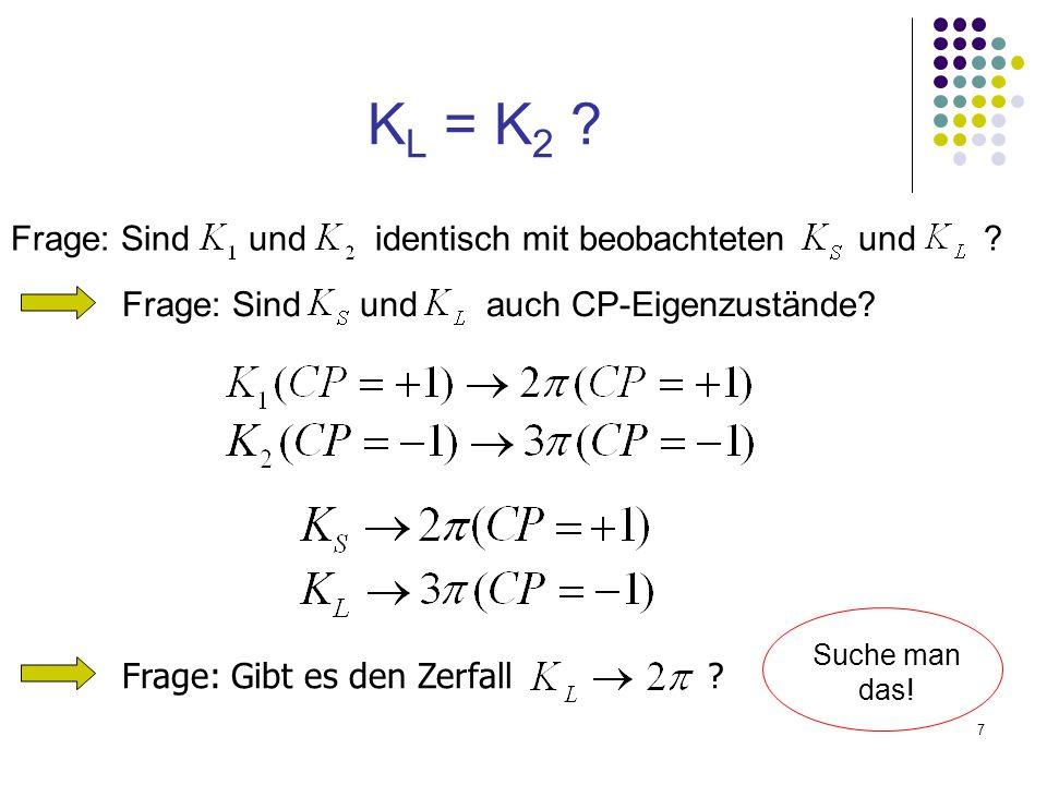 7 K L = K 2 ? Frage: Sind und identisch mit beobachteten und ? Frage: Sind und auch CP-Eigenzustände? Frage: Gibt es den Zerfall ? Suche man das!