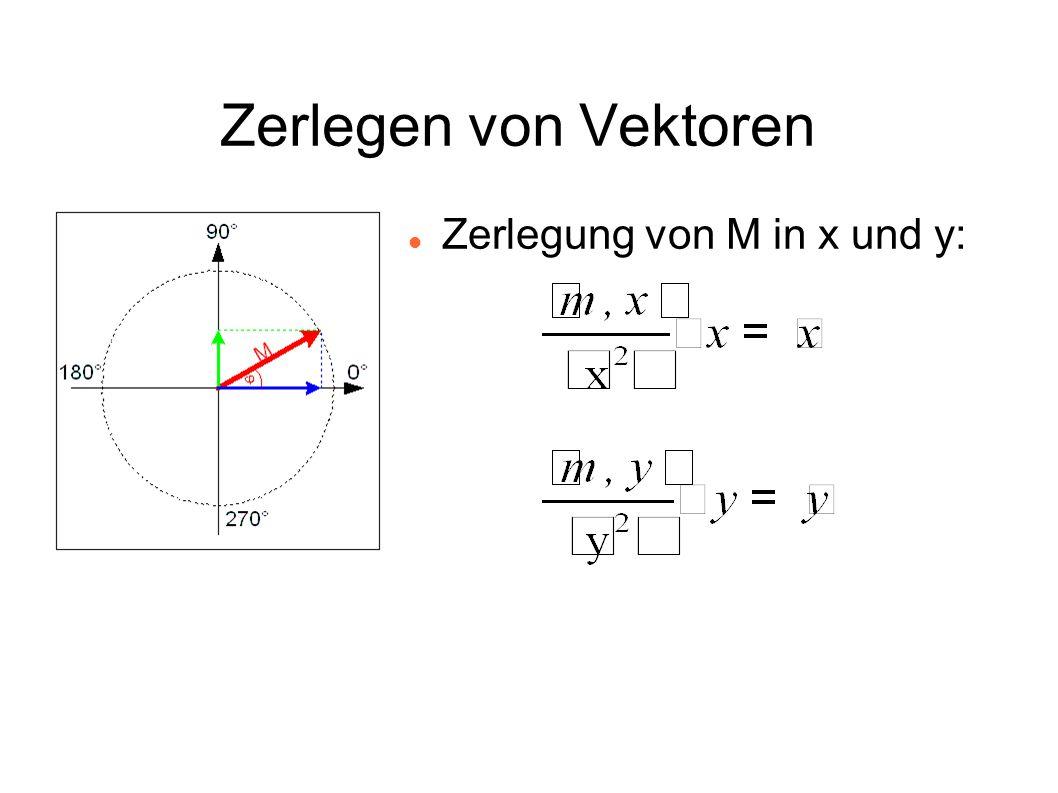 Zerlegen von Vektoren Zerlegung von M in x und y: