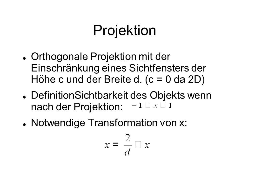 Projektion Orthogonale Projektion mit der Einschränkung eines Sichtfensters der Höhe c und der Breite d. (c = 0 da 2D) DefinitionSichtbarkeit des Obje