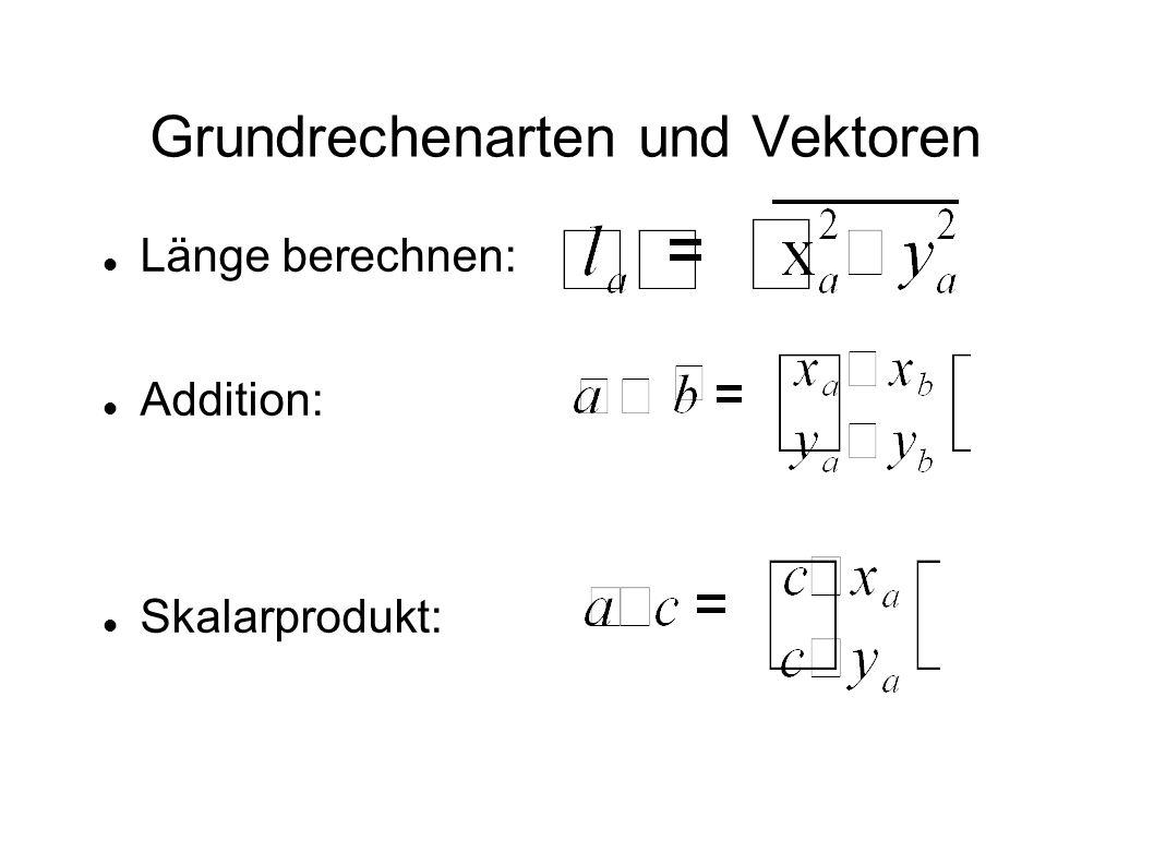 Bewegung Berechnung der Transformation mit Hilfe einer Matrix: Einführung der dritten Dimension aus mathematischen Gründen, bleibt ohne Effekt auf das Resultat.