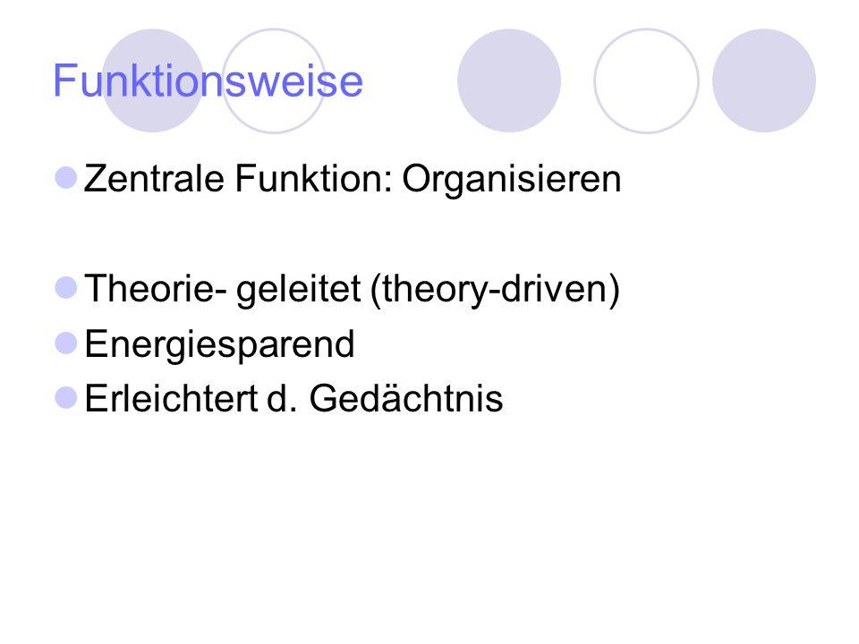 Funktionsweise Zentrale Funktion: Organisieren Theorie- geleitet (theory-driven) Energiesparend Erleichtert d. Gedächtnis