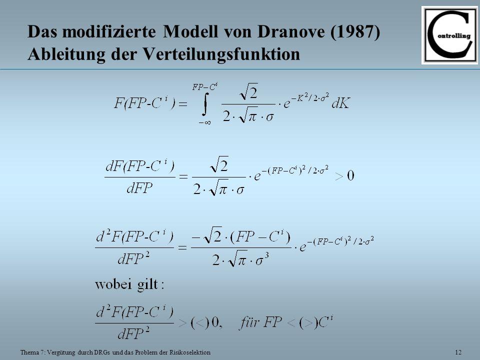 12 Thema 7: Vergütung durch DRGs und das Problem der Risikoselektion Das modifizierte Modell von Dranove (1987) Ableitung der Verteilungsfunktion