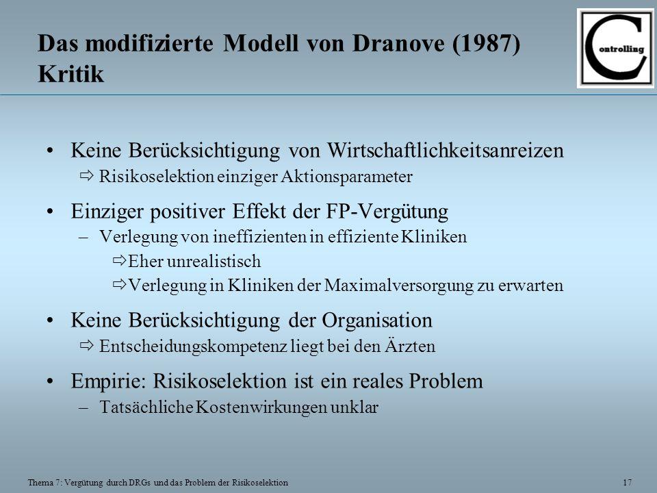 17 Thema 7: Vergütung durch DRGs und das Problem der Risikoselektion Das modifizierte Modell von Dranove (1987) Kritik Keine Berücksichtigung von Wirt
