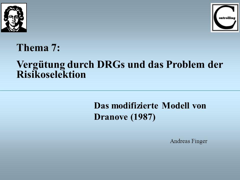 13 Thema 7: Vergütung durch DRGs und das Problem der Risikoselektion Das modifizierte Modell von Dranove (1987) Optimale Fallpauschale FP * Durchschnittliche Basiskosten Positiver Zuschlagsfaktor -hängt von allen Modellparametern ab Für C L < FP * < C H hinreichende Bedingung stets erfüllt