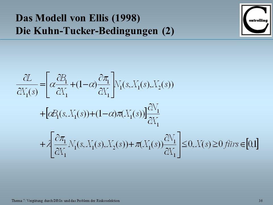 36 Thema 7: Vergütung durch DRGs und das Problem der Risikoselektion Das Modell von Ellis (1998) Die Kuhn-Tucker-Bedingungen (2)