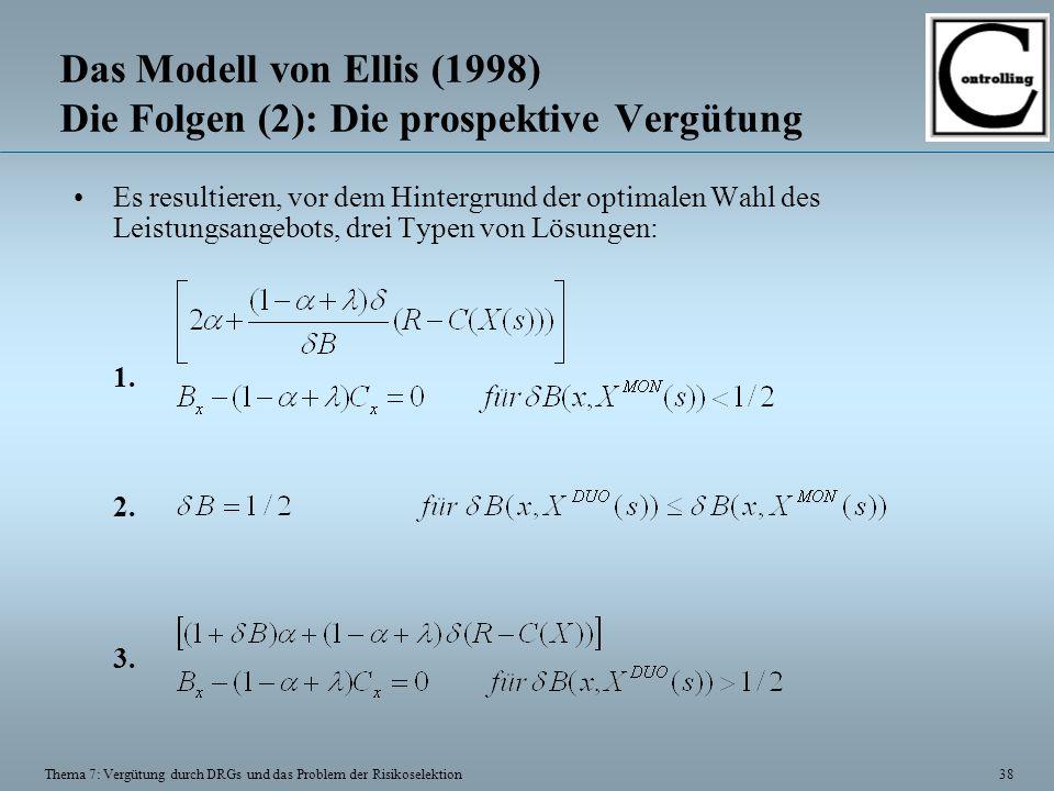 38 Thema 7: Vergütung durch DRGs und das Problem der Risikoselektion Das Modell von Ellis (1998) Die Folgen (2): Die prospektive Vergütung Es resultieren, vor dem Hintergrund der optimalen Wahl des Leistungsangebots, drei Typen von Lösungen: 1.