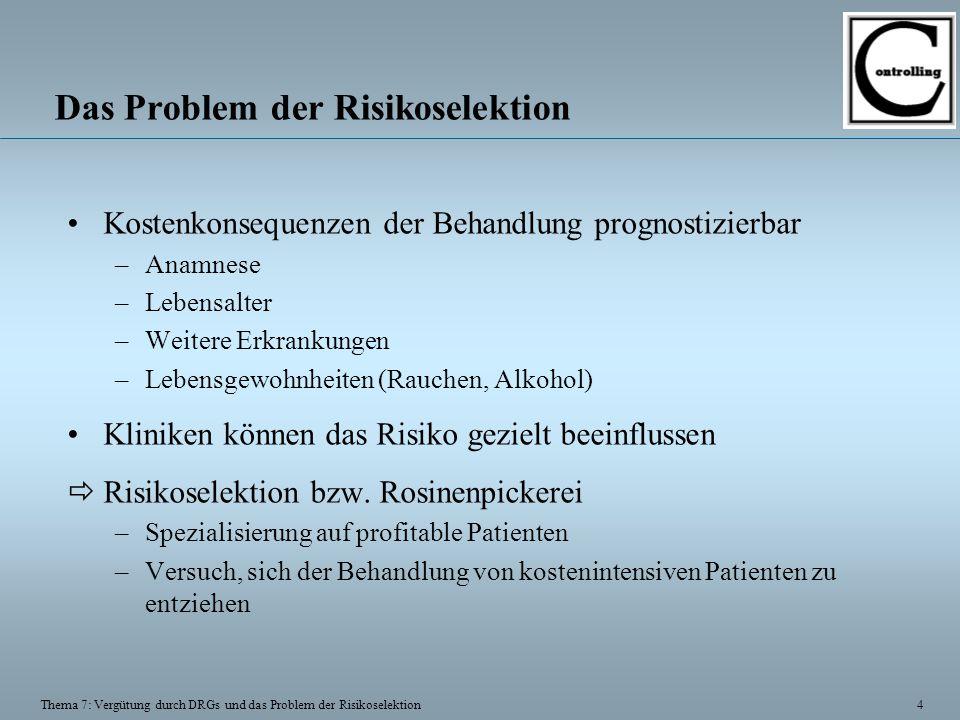 4 Thema 7: Vergütung durch DRGs und das Problem der Risikoselektion Das Problem der Risikoselektion Kostenkonsequenzen der Behandlung prognostizierbar