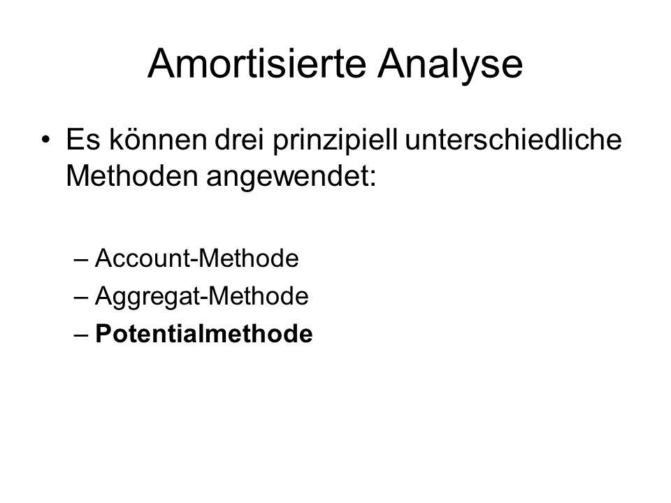 Amortisierte Analyse Es können drei prinzipiell unterschiedliche Methoden angewendet: –Account-Methode –Aggregat-Methode –Potentialmethode