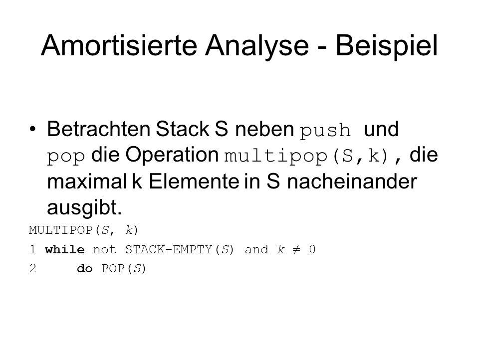 Amortisierte Analyse - Beispiel Betrachten Stack S neben push und pop die Operation multipop(S,k), die maximal k Elemente in S nacheinander ausgibt. M