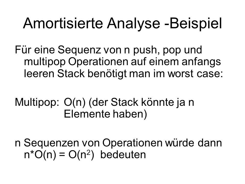 Amortisierte Analyse -Beispiel Für eine Sequenz von n push, pop und multipop Operationen auf einem anfangs leeren Stack benötigt man im worst case: Mu