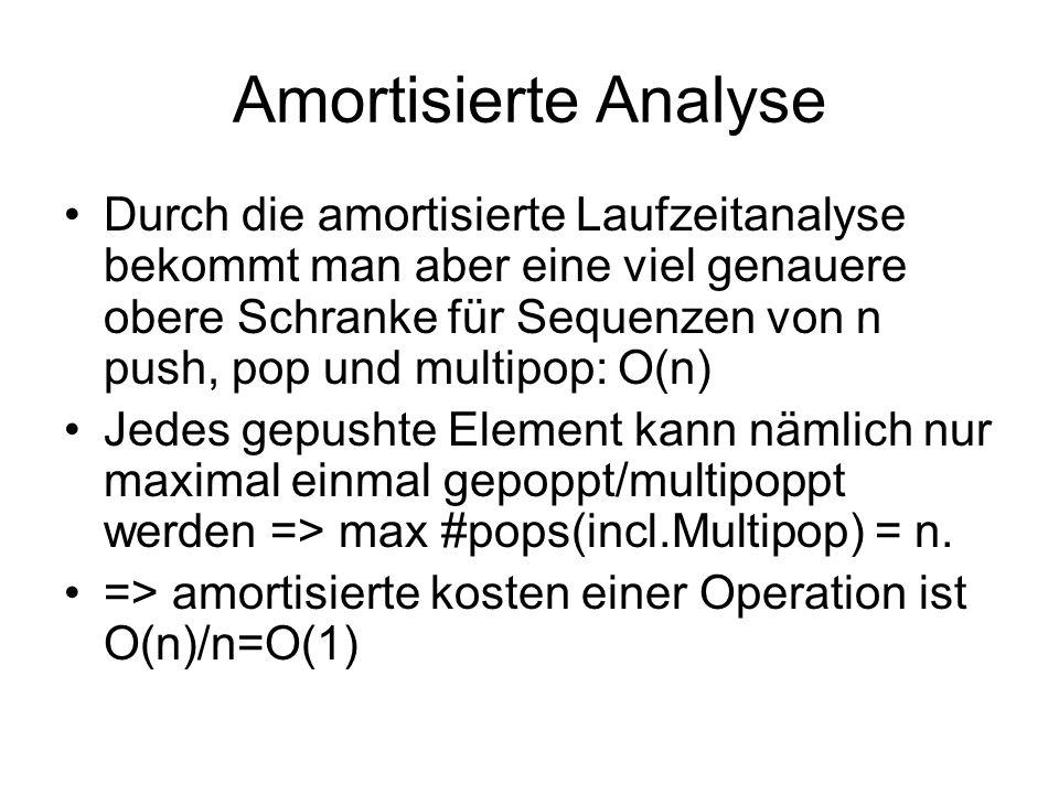 Amortisierte Analyse Durch die amortisierte Laufzeitanalyse bekommt man aber eine viel genauere obere Schranke für Sequenzen von n push, pop und multi