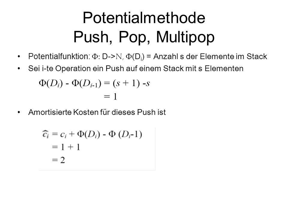 Potentialmethode Push, Pop, Multipop Potentialfunktion:  D-> N,  (D i ) = Anzahl s der Elemente im Stack Sei i-te Operation ein Push auf einem Sta