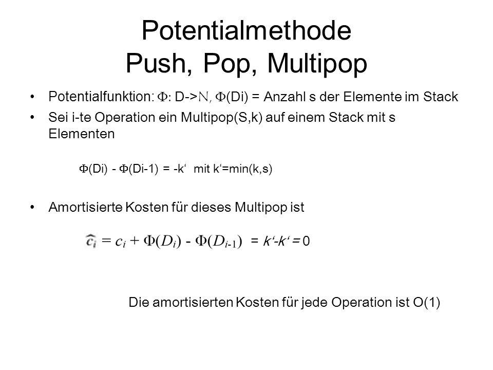 Potentialmethode Push, Pop, Multipop Potentialfunktion:  D-> N,  (Di) = Anzahl s der Elemente im Stack Sei i-te Operation ein Multipop(S,k) auf ei