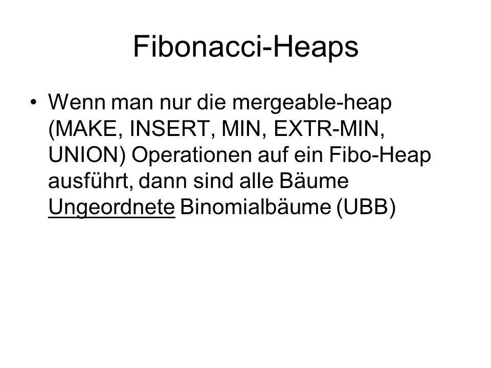 Fibonacci-Heaps Wenn man nur die mergeable-heap (MAKE, INSERT, MIN, EXTR-MIN, UNION) Operationen auf ein Fibo-Heap ausführt, dann sind alle Bäume Unge