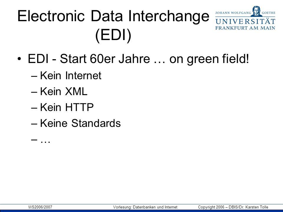 Electronic Data Interchange (EDI) EDI - Start 60er Jahre … on green field! –Kein Internet –Kein XML –Kein HTTP –Keine Standards –…