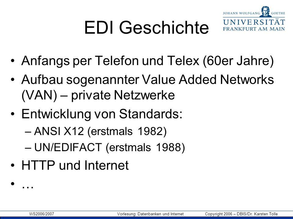 WS2006/2007 Vorlesung: Datenbanken und Internet Copyright 2006 – DBIS/Dr. Karsten Tolle EDI Geschichte Anfangs per Telefon und Telex (60er Jahre) Aufb