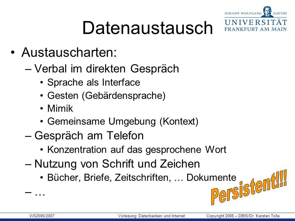 WS2006/2007 Vorlesung: Datenbanken und Internet Copyright 2006 – DBIS/Dr. Karsten Tolle Datenaustausch Austauscharten: –Verbal im direkten Gespräch Sp