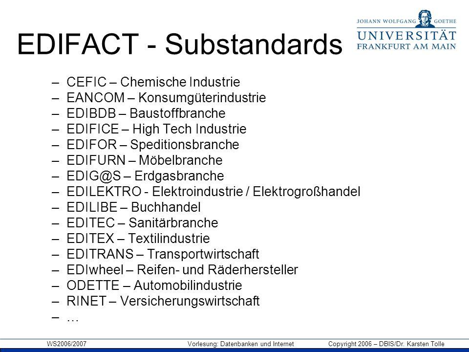 WS2006/2007 Vorlesung: Datenbanken und Internet Copyright 2006 – DBIS/Dr. Karsten Tolle EDIFACT - Substandards –CEFIC – Chemische Industrie –EANCOM –