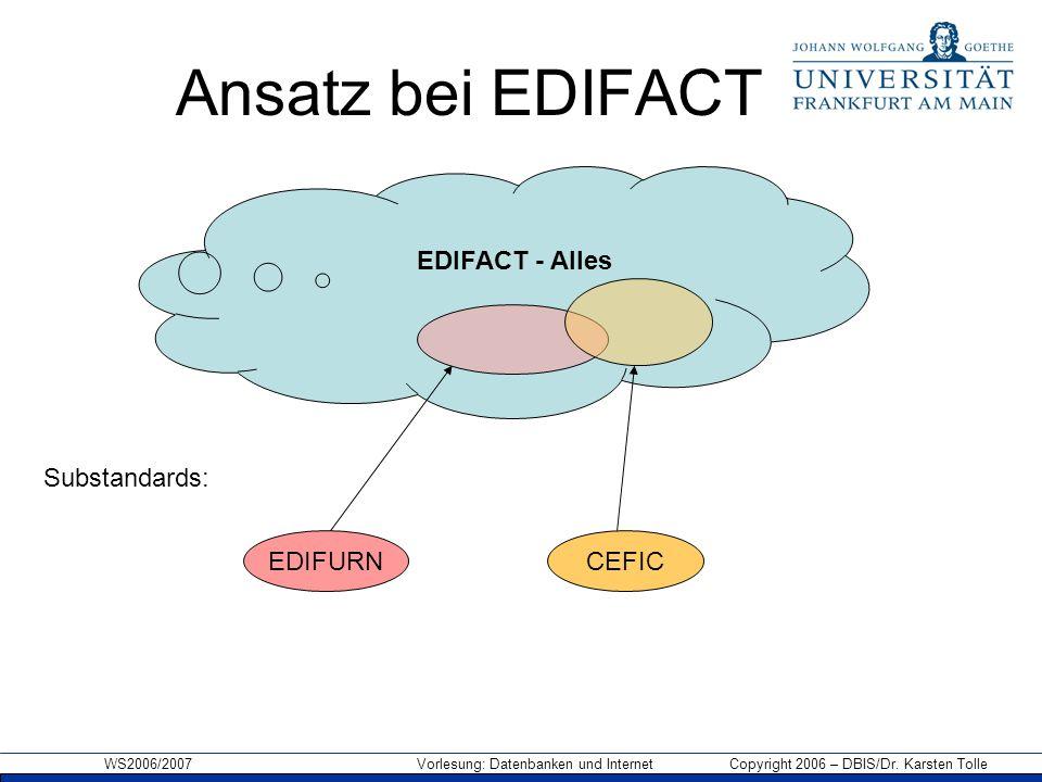 WS2006/2007 Vorlesung: Datenbanken und Internet Copyright 2006 – DBIS/Dr. Karsten Tolle Ansatz bei EDIFACT EDIFACT - Alles Substandards: CEFICEDIFURN