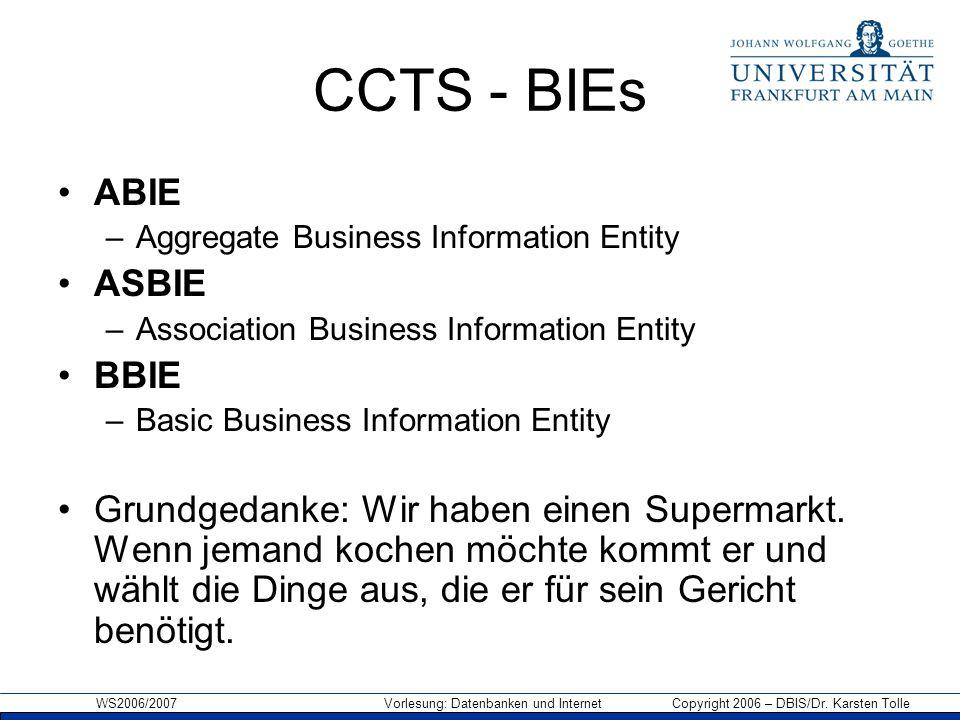 WS2006/2007 Vorlesung: Datenbanken und Internet Copyright 2006 – DBIS/Dr. Karsten Tolle CCTS - BIEs ABIE –Aggregate Business Information Entity ASBIE