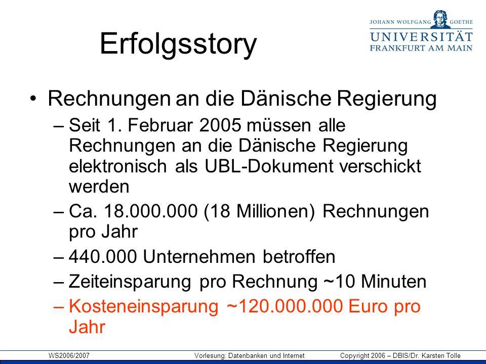WS2006/2007 Vorlesung: Datenbanken und Internet Copyright 2006 – DBIS/Dr. Karsten Tolle Erfolgsstory Rechnungen an die Dänische Regierung –Seit 1. Feb