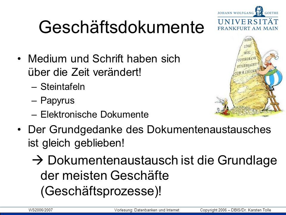 WS2006/2007 Vorlesung: Datenbanken und Internet Copyright 2006 – DBIS/Dr. Karsten Tolle Geschäftsdokumente Medium und Schrift haben sich über die Zeit