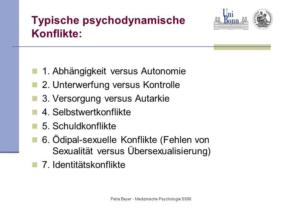 Petra Beyer - Medizinische Psychologie SS06 Typische psychodynamische Konflikte: 1. Abhängigkeit versus Autonomie 2. Unterwerfung versus Kontrolle 3.