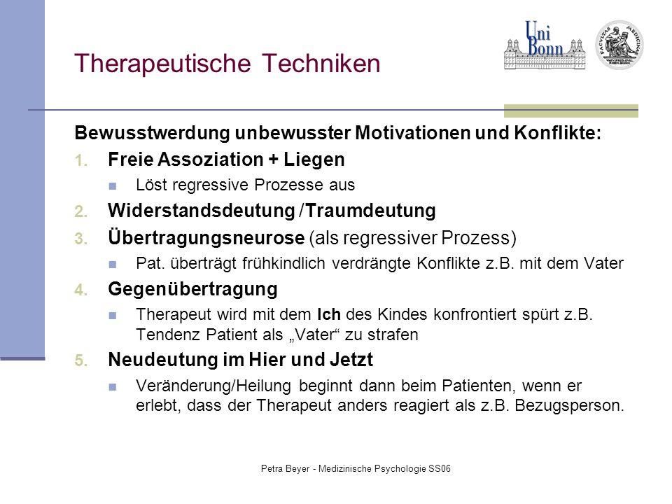 Petra Beyer - Medizinische Psychologie SS06 Therapeutische Techniken Bewusstwerdung unbewusster Motivationen und Konflikte: 1. Freie Assoziation + Lie