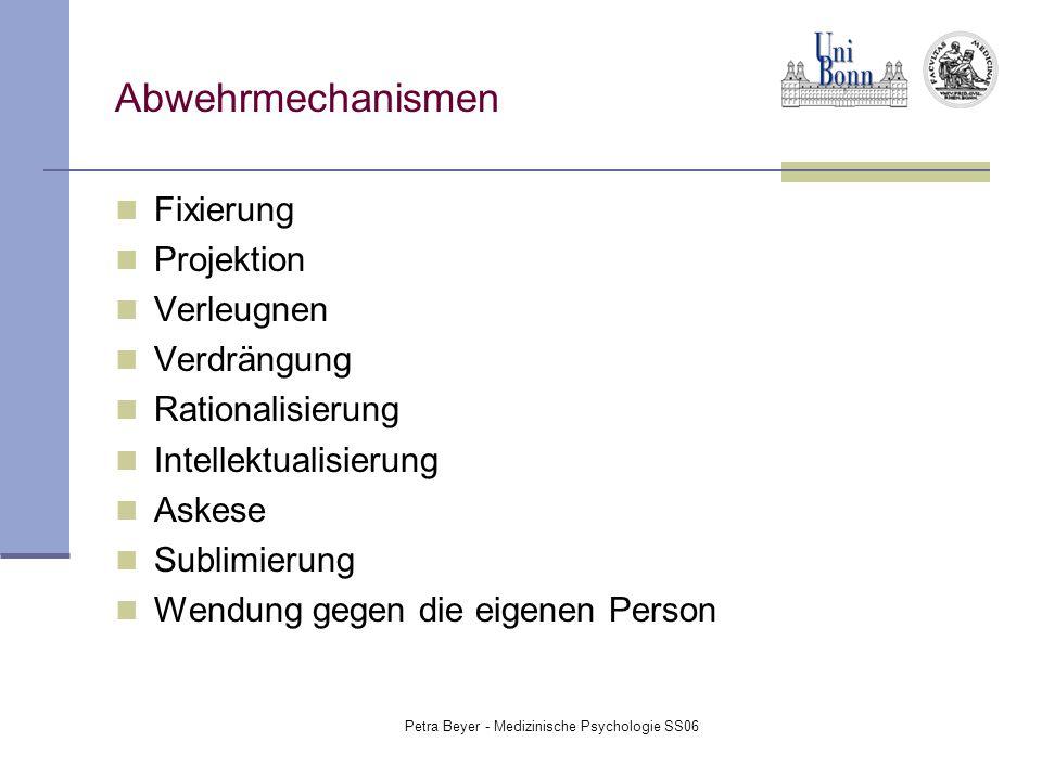 Petra Beyer - Medizinische Psychologie SS06 Abwehrmechanismen Fixierung Projektion Verleugnen Verdrängung Rationalisierung Intellektualisierung Askese
